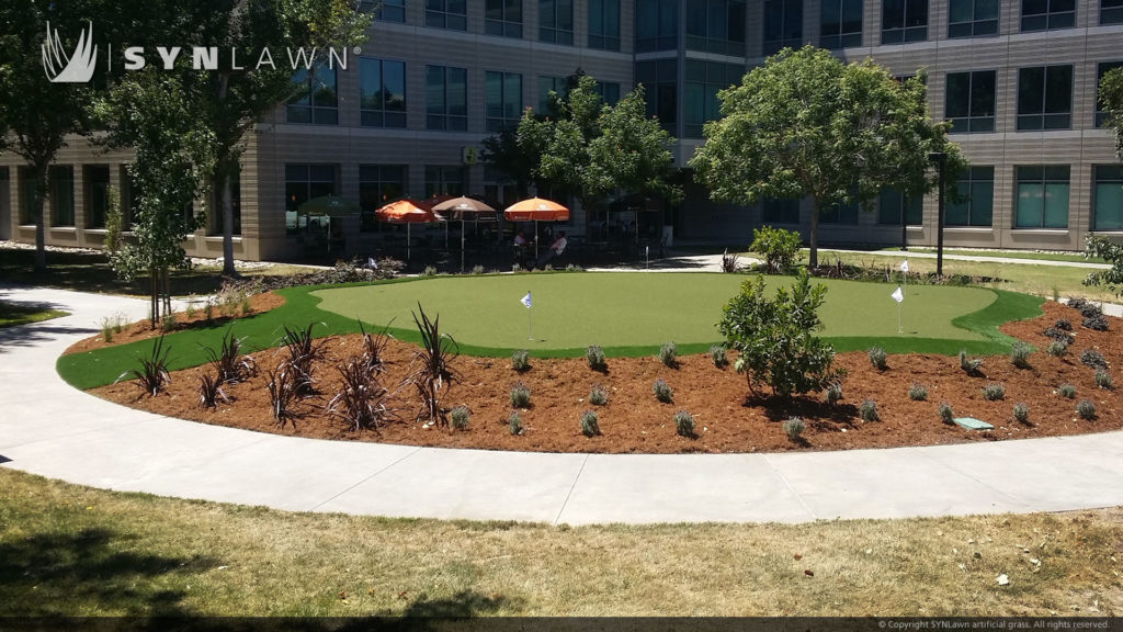 commercial business center with artificial grass