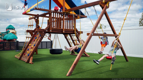 playground equipment on artificial turf