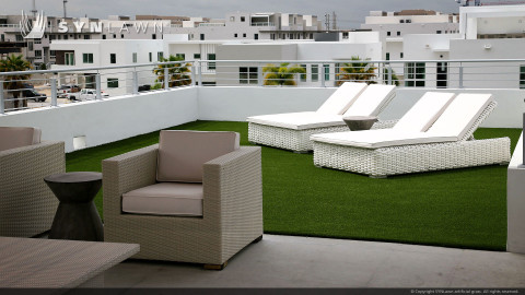 Rooftop balcony lawn with artificial grass