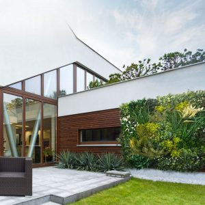 home with artificial landscaping